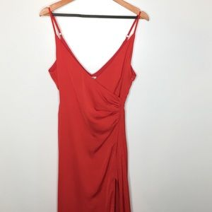 Tobi red maxi dress with high slit